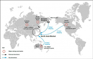 A map of the North Asian market and Amaam Project's location