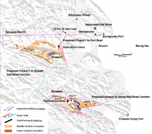 A map detailing locations of coal mining sites